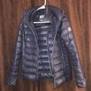 navy blue MK puffer jacket